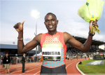 Rudisha after his 1:41.74--the fastest 800m ever run on U.S. soil (photo credit Samsung Diamond League)